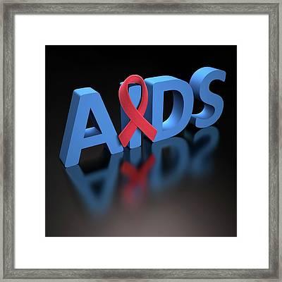 Aids Red Ribbon Framed Print by Ktsdesign