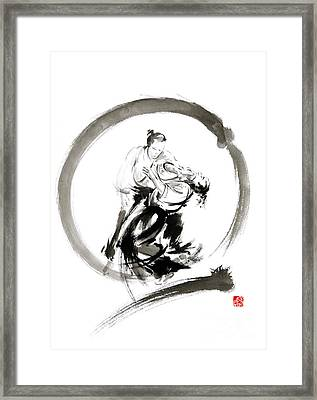 Aikido Enso Circle Martial Arts Sumi-e Samurai Ink Painting Artwork Framed Print by Mariusz Szmerdt