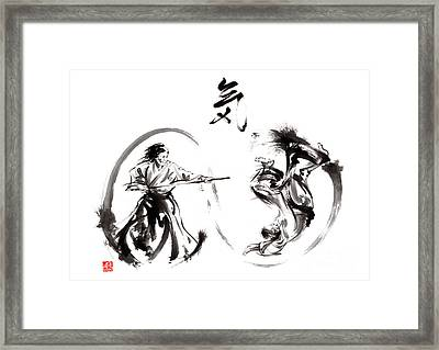 Aikido Federation Show Double Enso Fight Line Circle Painting Framed Print by Mariusz Szmerdt