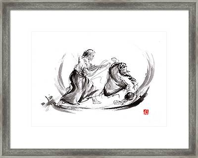 Aikido Fight Scenery Martial Arts Drawing Painting Sketch Art Draw Japan Japanese School Framed Print by Mariusz Szmerdt