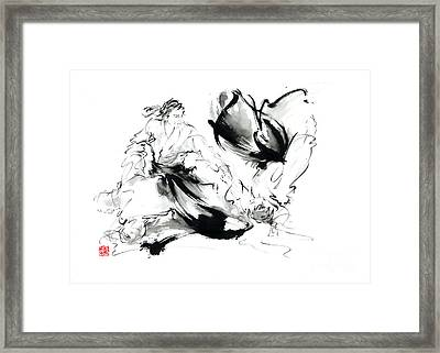 Aikido Randori Techniques Kimono Martial Arts Sumi-e Samurai Ink Painting Artwork Framed Print by Mariusz Szmerdt