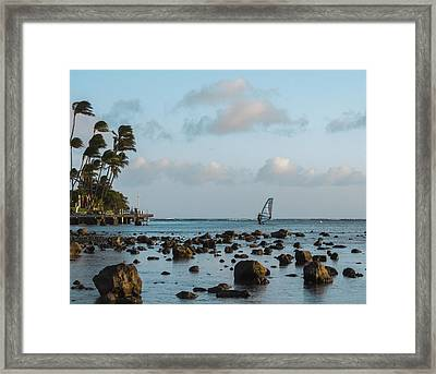 Aina Haina Windsurfer 1 Framed Print by Leigh Anne Meeks