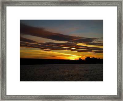 Air Brushed River Sunset Framed Print