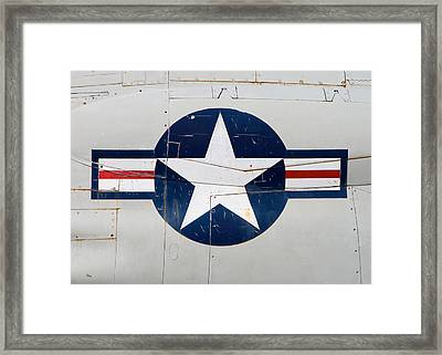 Air Force Logo On Vintage War Plane Framed Print by Stephanie McDowell