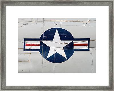 Air Force Logo On Vintage War Plane Framed Print by Stephanie McDowell
