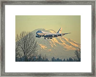 Air Force One And Mt Rainier Framed Print