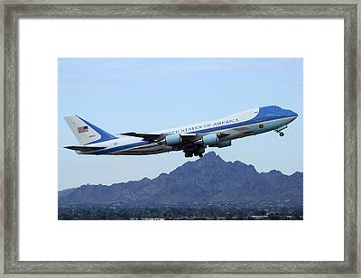 Air Force One Boeing Vc-25a 92-9000 Phoenix Sky Harbor January 7 2015 Framed Print by Brian Lockett