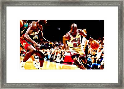 Air Jordan And Shawn Kemp Framed Print by Brian Reaves