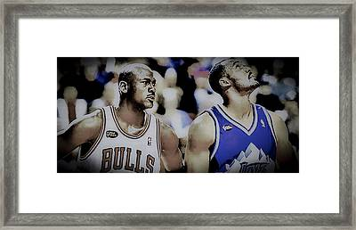 Air Jordan And The Mailman Framed Print by Brian Reaves
