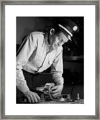 Air Raid Siren Man, 1952 Framed Print by Stocktrek Images