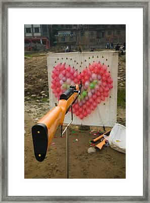 Air Rifle And Valentines Day Target Framed Print by Panoramic Images