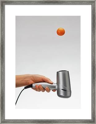 Air Stream Experiment Using Hairdryer Framed Print by Dorling Kindersley/uig