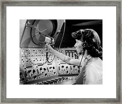 Air Traffic Control System Framed Print by Underwood Archives