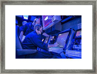 Air Traffic Controllers Monitor An Air Framed Print by Stocktrek Images