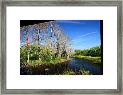 Airboat In Camp Framed Print by Ken  Collette
