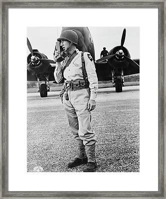 Airborne Infantry Officer Using Framed Print by Stocktrek Images