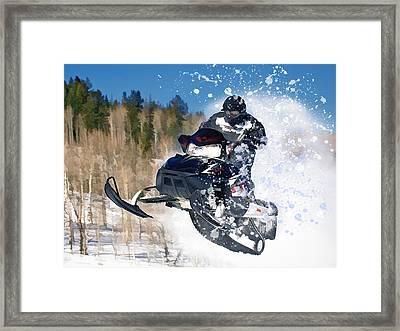 Airborne Snowmobile Framed Print by Elaine Plesser