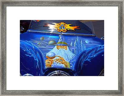 Airbrush Magic - Wizard Merlin On A Motorcycle Framed Print
