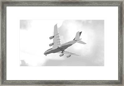 Airbus 380 - Grey Framed Print by Marcello Cicchini