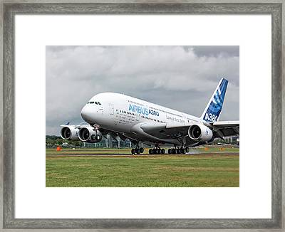 Airbus A380 Landing Framed Print