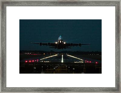 Airbus A380 Take-off At Dusk Framed Print by Tim Beach