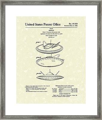 Aircraft 1960 Patent Art Framed Print