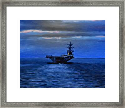 Aircraft Carrier Framed Print by Michael Pickett
