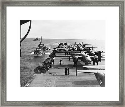 Aircraft Carrier Uss Hornet Framed Print by Us Air Force