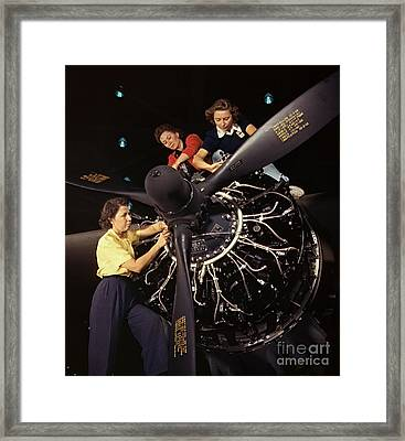 Aircraft Engine Installation 1942 Framed Print by Padre Art
