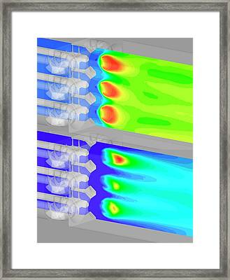 Aircraft Fuel Injection Simulation Framed Print by Nasa/glenn (kumud Ajmani, Jeffrey Moder)
