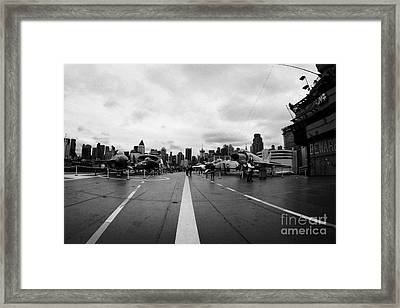 Aircraft On The Flight Deck Of The Uss Intrepid And Flight Island Looking Towards Manhattan Framed Print