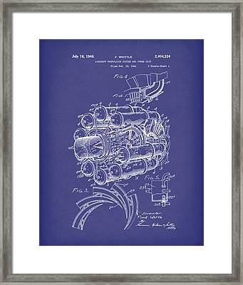 Aircraft Propulsion 1946 Patent Art Blue Framed Print by Prior Art Design