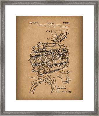 Aircraft Propulsion 1946 Patent Art Brown Framed Print by Prior Art Design