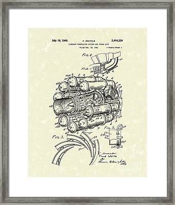 Aircraft Propulsion 1946 Patent Art Framed Print by Prior Art Design