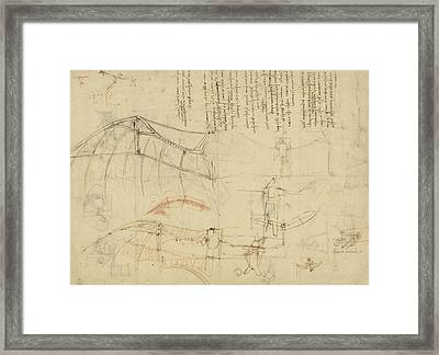 Aircraft The Machine Has Been Reduced To The Simplest Shape Framed Print by Leonardo Da Vinci