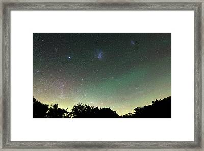 Airglow And Magellanic Clouds Framed Print by Luis Argerich