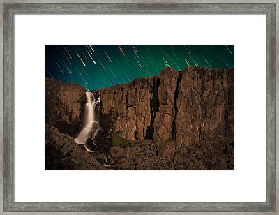 Airglow Star Trails Over North Clear Creek Falls Framed Print by Mike Berenson