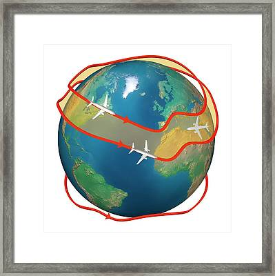 Airliners Following Jet Streams Framed Print by Claus Lunau