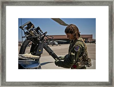 Airman Examines The Barrels Of A Gau-2 Framed Print by Stocktrek Images