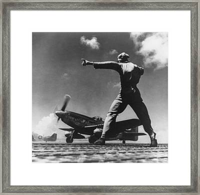 Airman Gives The Take Off Signal Framed Print