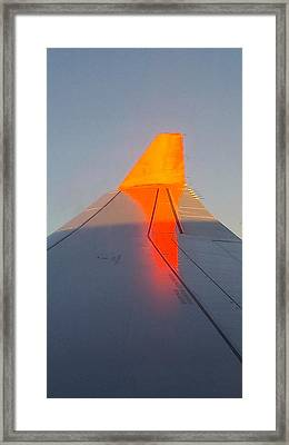 Airplain Wing On Sunrise Framed Print by Yury Malkov