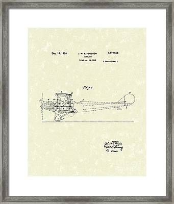 Airplane 1924 Patent Art  Framed Print