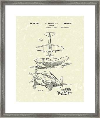 Airplane 1947 Patent Art Framed Print