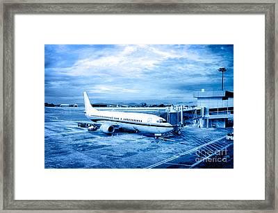 Airplane At Aerobridge Framed Print
