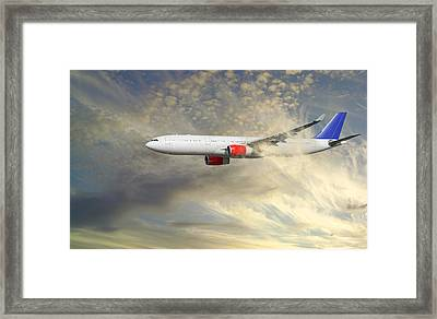 Airplane Flying Into Clouds Close-ups Framed Print by Christian Lagereek