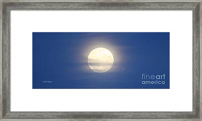 Airplane Flying Into Full Moon Framed Print