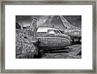 Airplane Graveyard - Black And White Framed Print by Gregory Dyer
