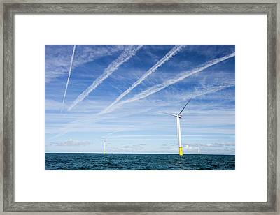 Airplane Over Offshore Wind Farm Framed Print by Ashley Cooper