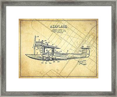 Airplane Patent Drawing From 1921-vintage Framed Print by Aged Pixel