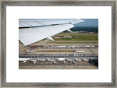 Airplane View Of An Airport Framed Print